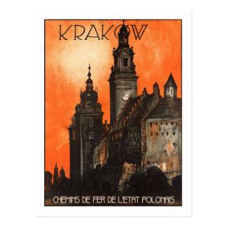 Postal Poster del viaje del vintage, Kraków