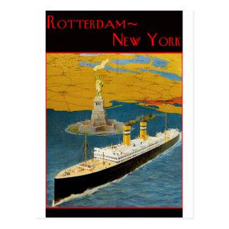 Postal Poster del viaje del vintage: Rotterdam - Nueva