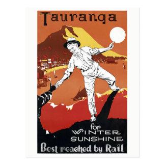Postal Poster del vintage de Nueva Zelanda Tauranga