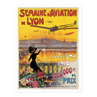 Postal Poster del vintage de Semaine D'Aviation De Lyon
