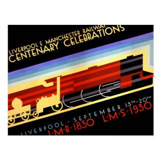 Postal Poster ferroviario del vintage de Liverpool