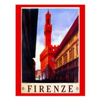 Postal Poster italiano del viaje de Florencia del vintage