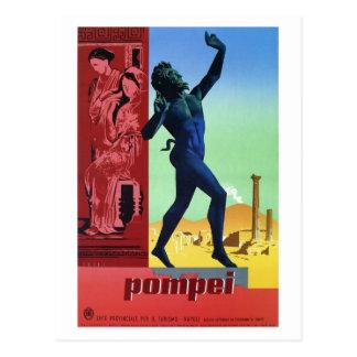 Postal Poster italiano del viaje de Pompeya del vintage