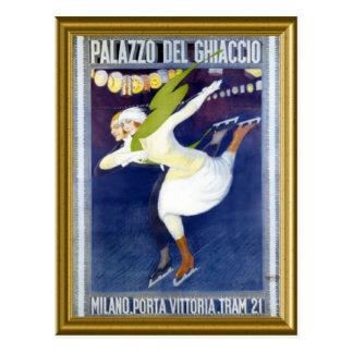 Postal Poster patinador a partir de los años 20 de Italia