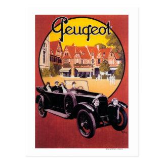 Postal Poster promocional del automóvil de Peugeot