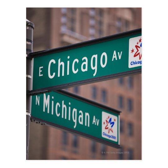 Postal Postes indicadores de la avenida de Chicago y de