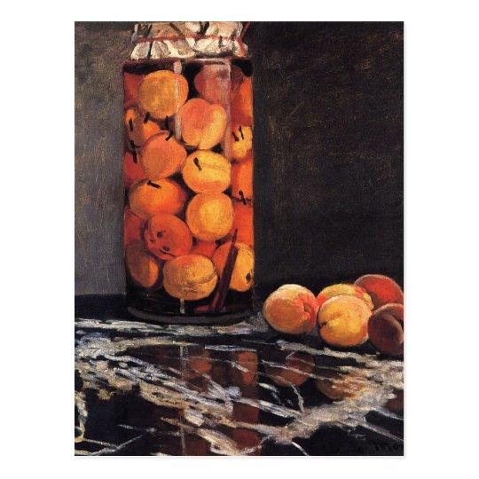 Postal Pote de melocotones de Claude Monet