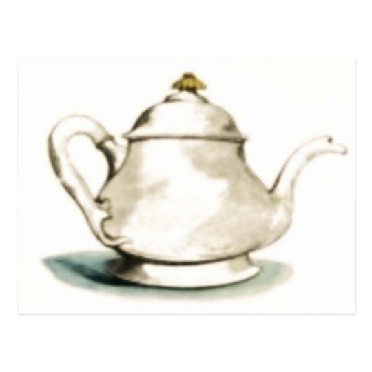 Postal Pote del té del vintage
