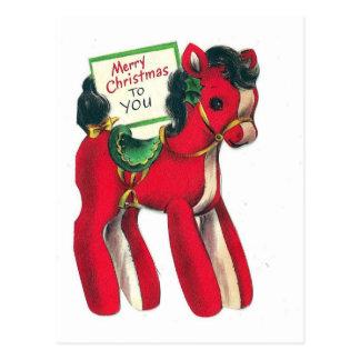 Postal Potro rojo del navidad del vintage