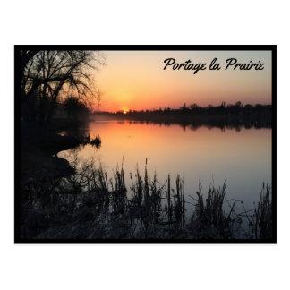 Postal Pradera del la de Portage - puesta del sol en el