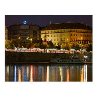 Postal Praga por noche