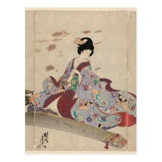 Postal Preparación tocar el Koto de Toyohara Chikanobu