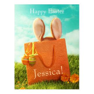 Postal Presente de Pascua con el conejo y los huevos de