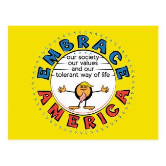 Postal Presidente Trump Caricature de AMÉRICA del ABRAZO