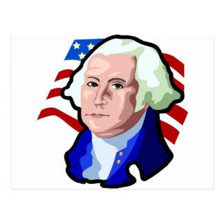 Postal Presidentes Day, George Washington y bandera de