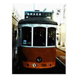 Postal Primer de la tranvía de Lisboa