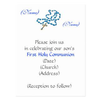 Postal Primer rosario Invitación-Azul de la comunión