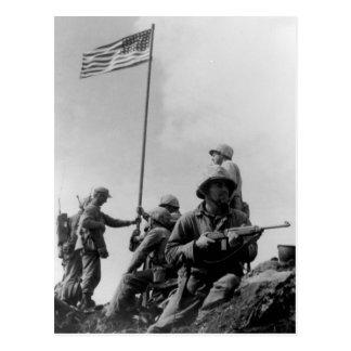 Postal Primera bandera de Iwo Jima que aumenta el 23 de