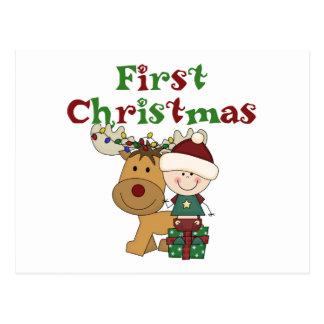 Postal Primeras camisetas y regalos del navidad del reno