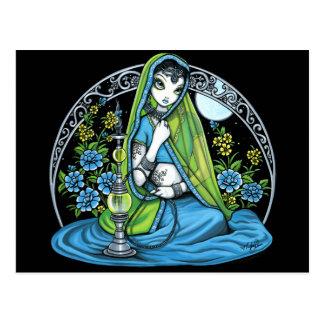 Postal Princesa Fae Postcard de la cachimba de la flor