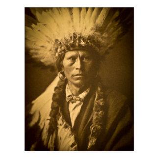 Postal Principal Garfield vintage del indio de Apache