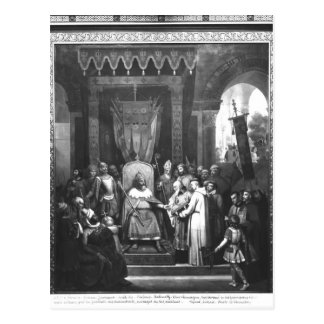 Postal Principal rodeado Carlomagno del emperador