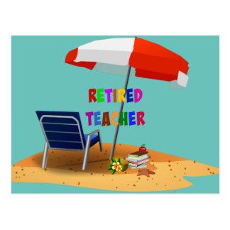 Postal Profesor jubilado, tema de la escena de la playa