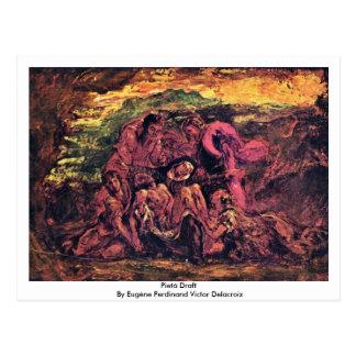 Postal Proyecto de Pietà del vencedor Delacroix de Eugène