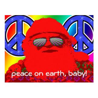 Postal psicodélica de la paz de Santa