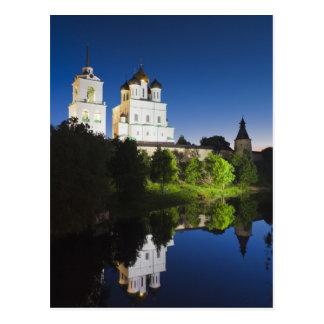 Postal Pskov el Kremlin y catedral de la trinidad