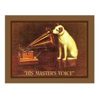 Postal Publicidad del vintage, la voz de su amo,