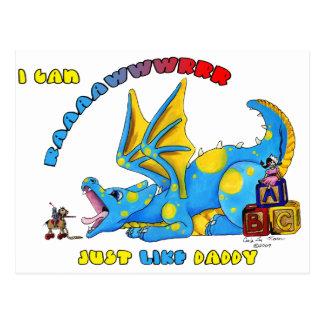 Postal Puedo RAWR apenas como dragón babby lindo del papá