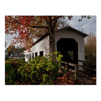 Postal Puente cubierto centenario, arboleda de la cabaña,