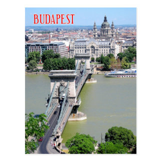 Postal Puente de cadena sobre el río Danubio, Budapest,