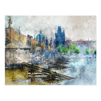 Postal Puente de Charles en la República Checa de Praga