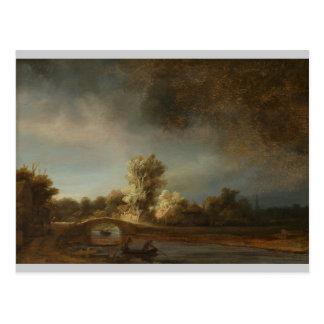 Postal Puente de piedra de Rembrandt
