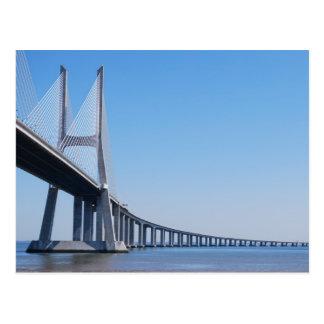 Postal Puente de Vasco da Gama sobre el río el Tajo en