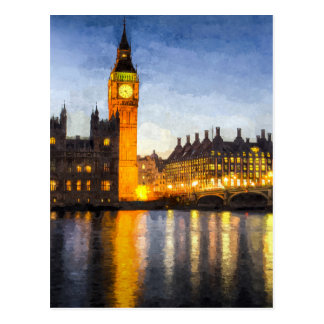 Postal Puente de Westminster y arte de Big Ben