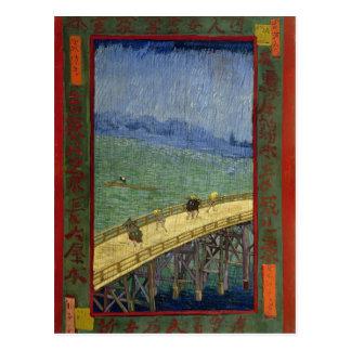 Postal Puente en bella arte de Van Gogh de la lluvia