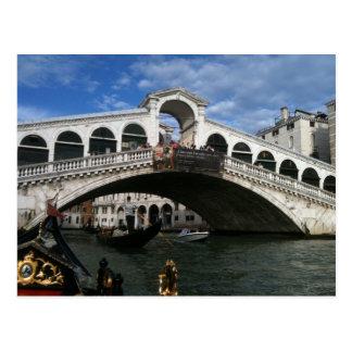 Postal Puente famoso de Rialto de Venecia