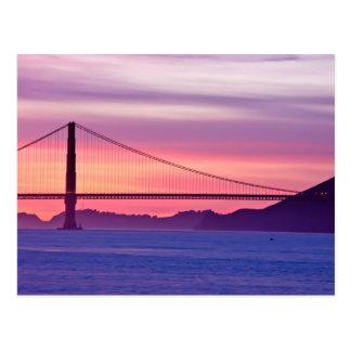 Postal Puente Golden Gate en la puesta del sol