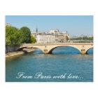 Postal Puente sobre el río el Sena en París, Francia