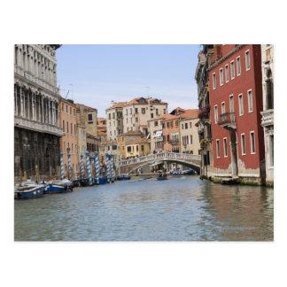 Postal Puente sobre un canal, Gran Canal, Venecia, Italia