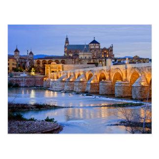 Postal Puente y catedral romanos de Mezquita en Córdoba