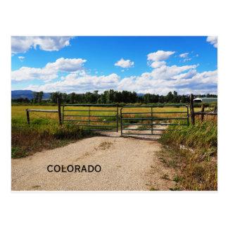 Postal puerta verde por una pradera de Colorado