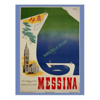 Postal Puerto de Messina de anuncio italiano del viaje