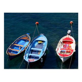 Postal Puerto de Riomaggiore de los barcos