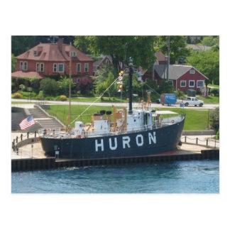Postal Puerto Huron, río del buque faro de Huron del St.