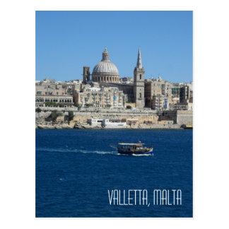 Postal Puerto Malta del horizonte de La Valeta del barco