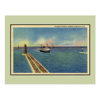 Postal Puerto que entra Muskegon MI del vapor del vintage